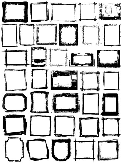 Grunge Frames Vector and Photoshop Brush Pack-01