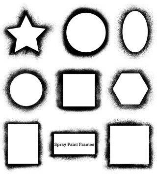 Spray Paint Frames Vector and Photoshop Brush Pack-01