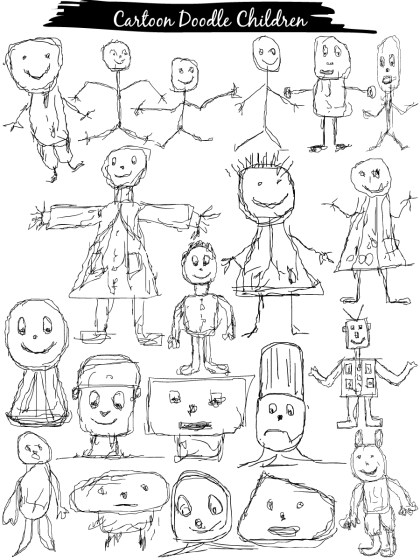 Children Drawing Doodle Cartoons Vector and Photoshop Brush Pack-01
