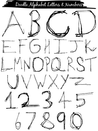 Doodle Alphabet Letters and Numbers Vector and Photoshop Brush Pack-01