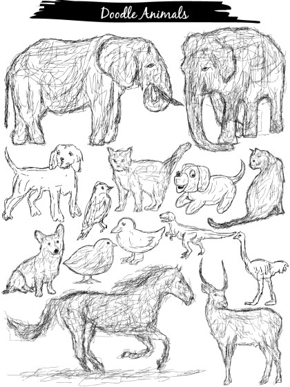 Doodle Animals Vector and Photoshop Brush Pack-01