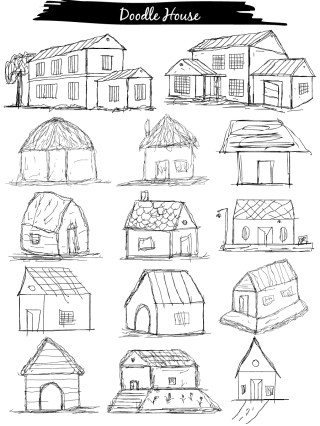 Doodle House Vector and Photoshop Brush Pack-01