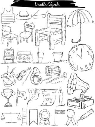 Doodle Objects Vector and Photoshop Brush Pack-01