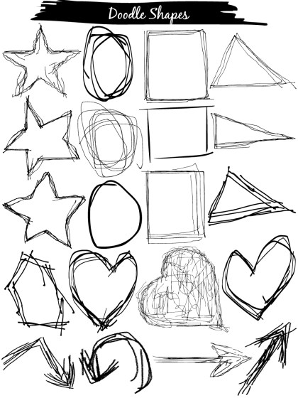 Doodle Shapes Circle, Square, Star, Triangle, Heart Vector and Brush Pack-01