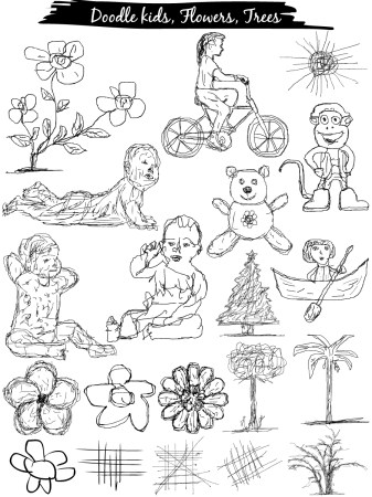 Doodle kids, Flowers, Trees Vector and Photoshop Brush Pack-01