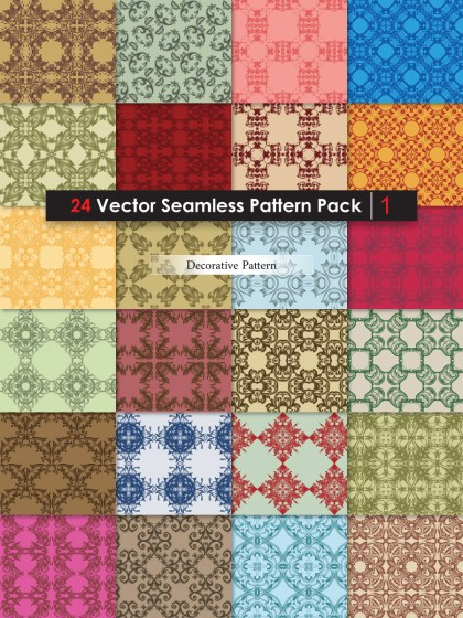 Decorative Ornament Vector and Photoshop Pattern Pack-01