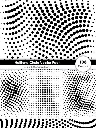 Halftone Circle Shape Pattern Vector and Photoshop Brush Pack-01