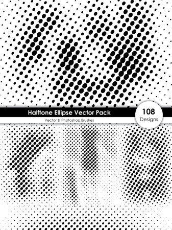 Halftone Ellipse Shape Pattern Vector and Photoshop Brush Pack-01