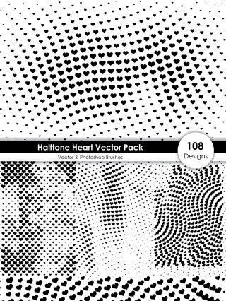 Halftone Heart Shape Pattern Vector and Photoshop Brush Pack-01