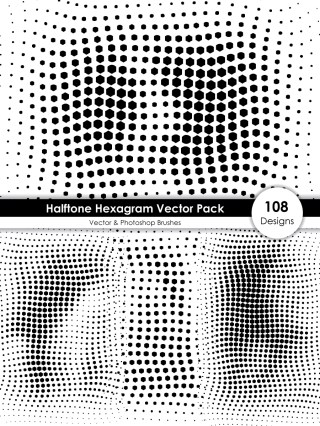 Halftone Hexagram Shape Pattern Vector and Photoshop Brush Pack-01