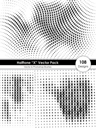 Halftone X Shape Pattern Vector and Photoshop Brush Pack-01