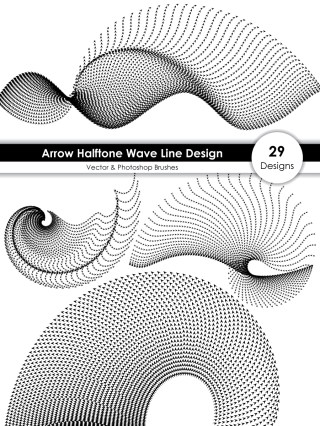 Arrow Halftone Wave Line Design Vector and Photoshop Brush Pack