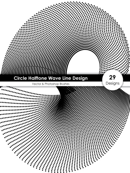 Circle Halftone Wave Line Design Vector and Photoshop Brush Pack