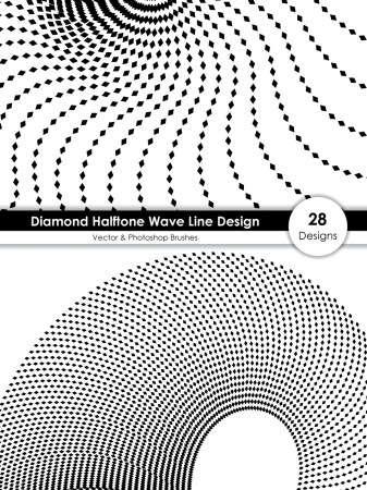 Diamond Halftone Wave Line Design Vector and Photoshop Brush Pack