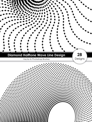 Diamond Halftone Wave Line Design Vector and Photoshop Brush Pack