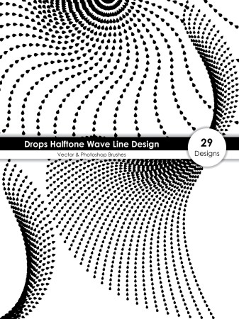 Drops Halftone Wave Line Design Vector and Photoshop Brush Pack