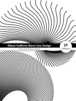 Ellipse Halftone Wave Line Design Vector and Photoshop Brush Pack