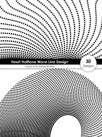 Heart Halftone Wave Line Design Vector and Photoshop Brush Pack