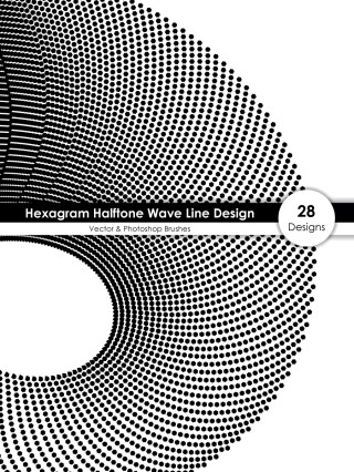 Hexagram Halftone Wave Line Design Vector and Photoshop Brush Pack