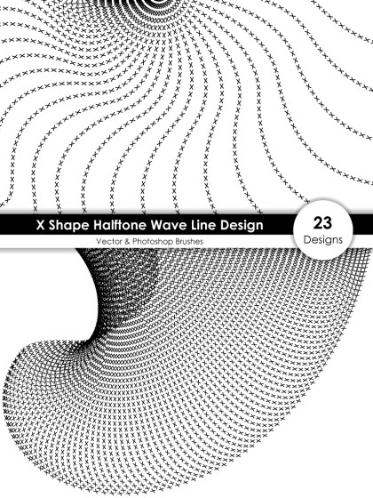 X Shape Halftone Wave Line Design Vector and Photoshop Brush Pack
