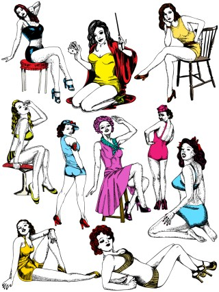 Pin-Up Girls Vector and Photoshop Brush Pack-01