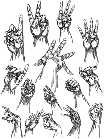 Hand Drawn Hands Vector and Photoshop Brush Pack-01