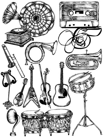 Hand Drawn Musical Instruments Vector and Photoshop Brush Pack-01