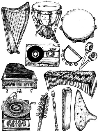 Hand Drawn Musical Instruments Vector and Photoshop Brush Pack-02
