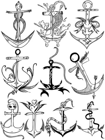 Hand Drawn Anchor Vector and Photoshop Brush Pack-01