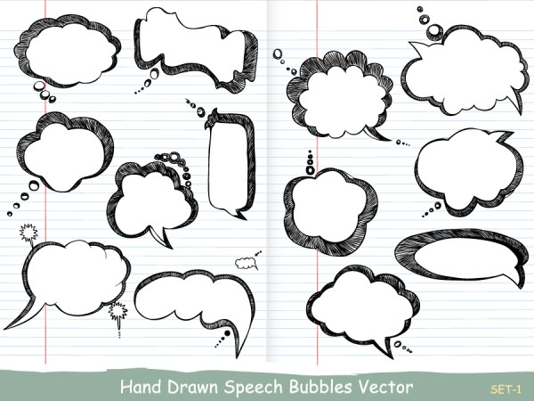 Hand Drawn Speech Bubbles Vector and Photoshop Brush Pack-01