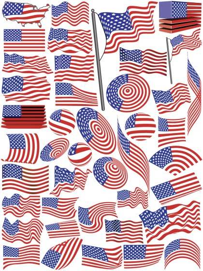 USA Flags Vector Pack
