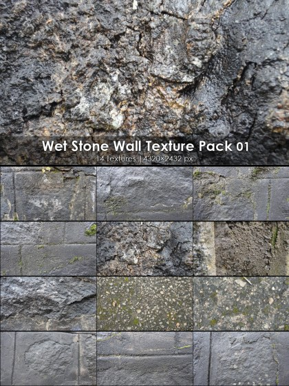 Wet Stone Wall Textures 01