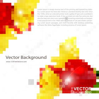 Red Yellow Geometric Square Background Illustrator