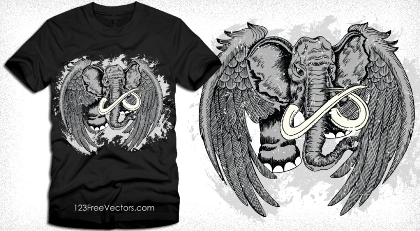 Winged Elephant Vector T-Shirt Design
