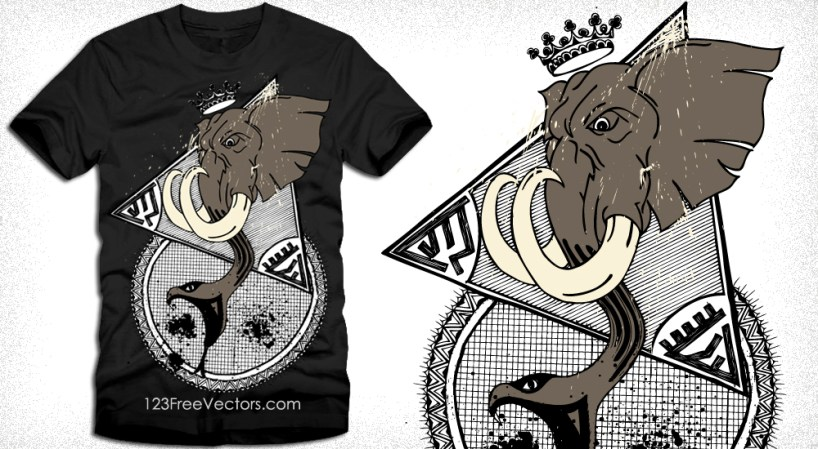 Vector T-Shirt Design with Elephant Head and Snake Mouth