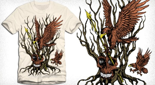 Apparel Vector T-Shirt Design with Eagle, Tree and Skull