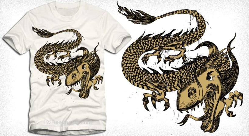 Dragon Vector T-Shirt Design Illustration