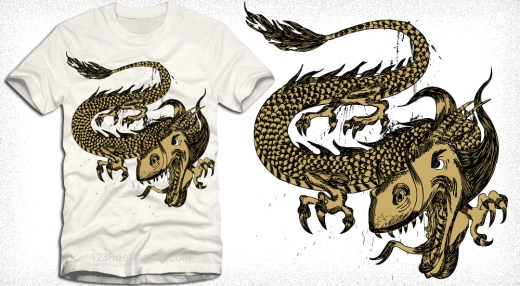 Dragon Vector T-Shirt Design Illustration