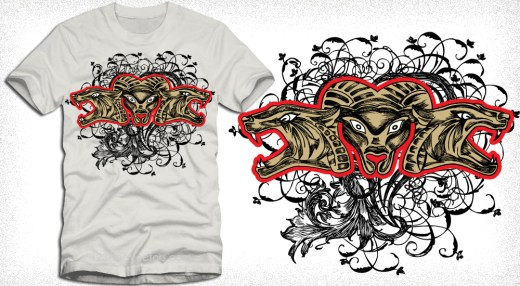 Tee Vector Design with Animal and Floral