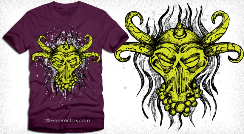 Vector T-Shirt Design with Bull Head