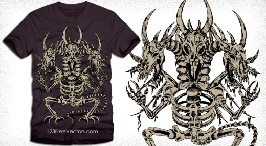 Vector T-Shirt Design with Dragon Skeleton