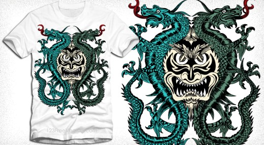 Demon with Dragon Vector T-Shirt Design