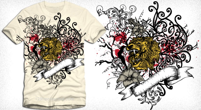 Vector T-Shirt Graphics with Lion Head, Ribbon and Floral