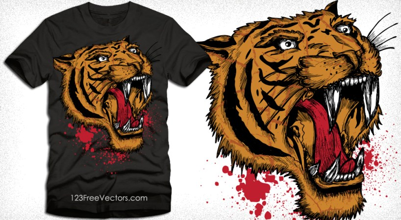 Apparel Vector T-Shirt Design with Tiger