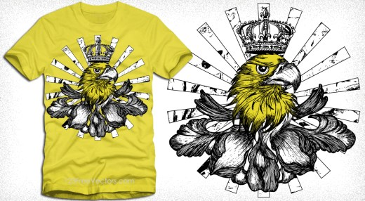 Vector T-Shirt Design with Eagle Head, Crown and Sunburst