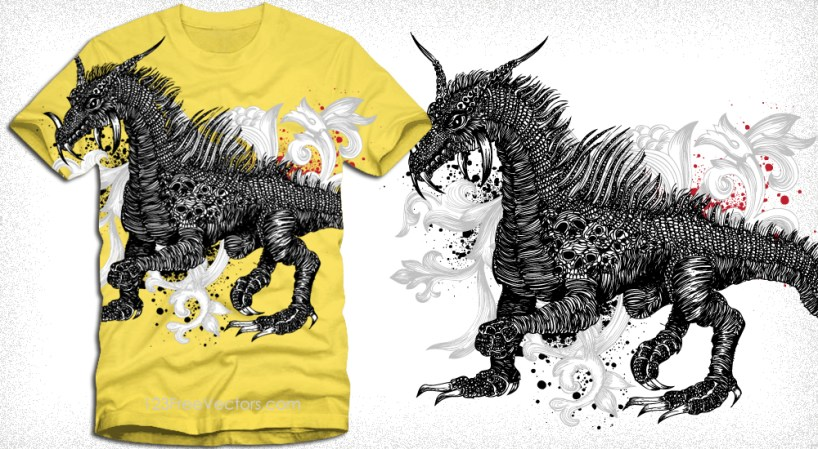 Dragon T-Shirt Design with Floral Illustration