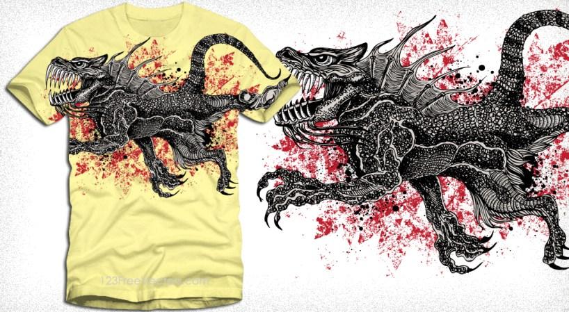 Dragon T-Shirt Grunge Vector Graphic Design