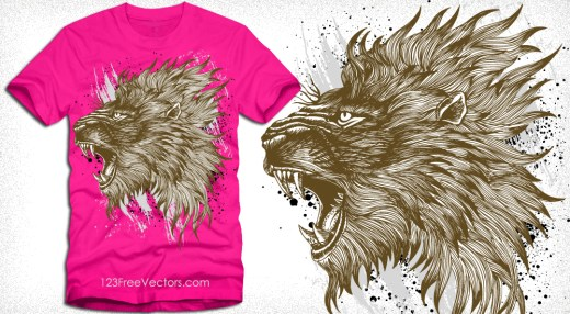 Vector T-Shirt Graphics with Lion Head
