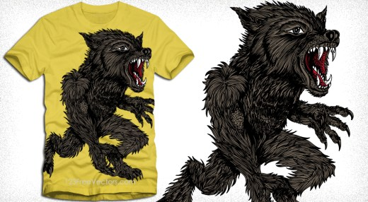 Vector Apparel T-Shirt Design with Demon Wolf