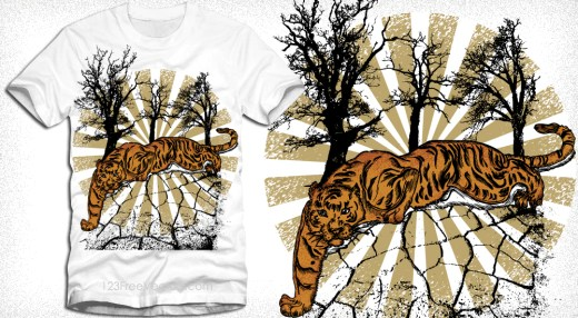 Tiger with Tree and Sunburst Vector T-Shirt Illustration